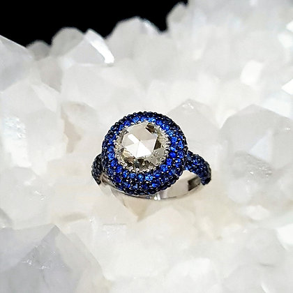 Round Rose Cut and Blue Sapphire Ring