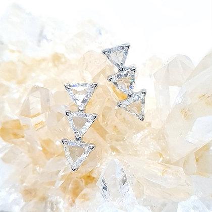 Triangle Rose Cut Diamond Earrings