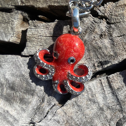 Coral Enamel Octopus Charm in Rose Gold