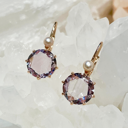 Amethyst and Cultured Pearl Earrings