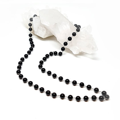 Onyx Bead Rosary Chain Necklace
