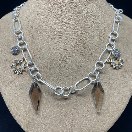 White Sapphire and Smoky Topaz Drop Necklace