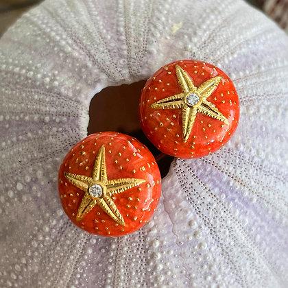Coral Enamel Sea Urchin Earrings