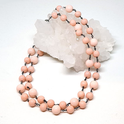 Pink Shell Rosary Chain Necklace