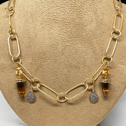 Citrine Bullet and Pear Shaped White Sapphire Necklace