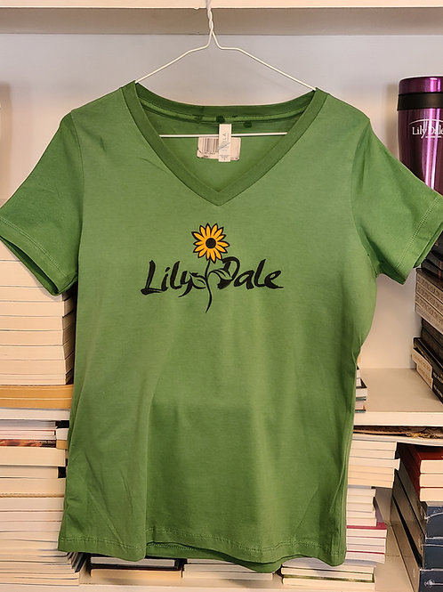 Lily Dale Sunflower V-Neck T-shirt