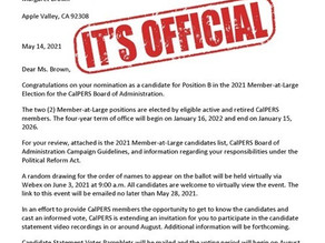 Margaret Brown Officially A Candidate for CalPERS Board Election begins August 27th