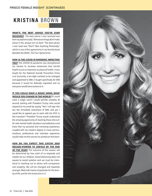 Kristina Woodahl Suicide Prevention Expert featured Frisco Life Magazine