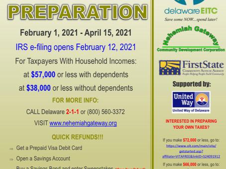 Tax Prep at NHI ENDS TOMORROW!