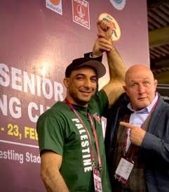 Asian Wrestling Championships New Delhi India with Wrestler from the Palestinian Wrestling Team