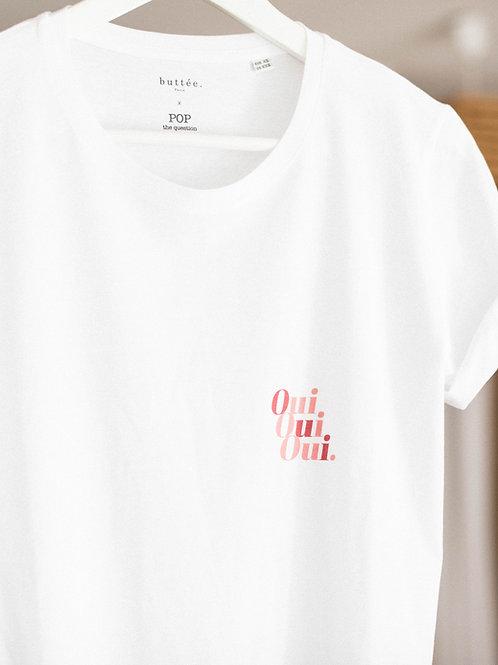 "Tee-shirt ""Oui Oui Oui."" Buttée. Paris x Pop The Question"