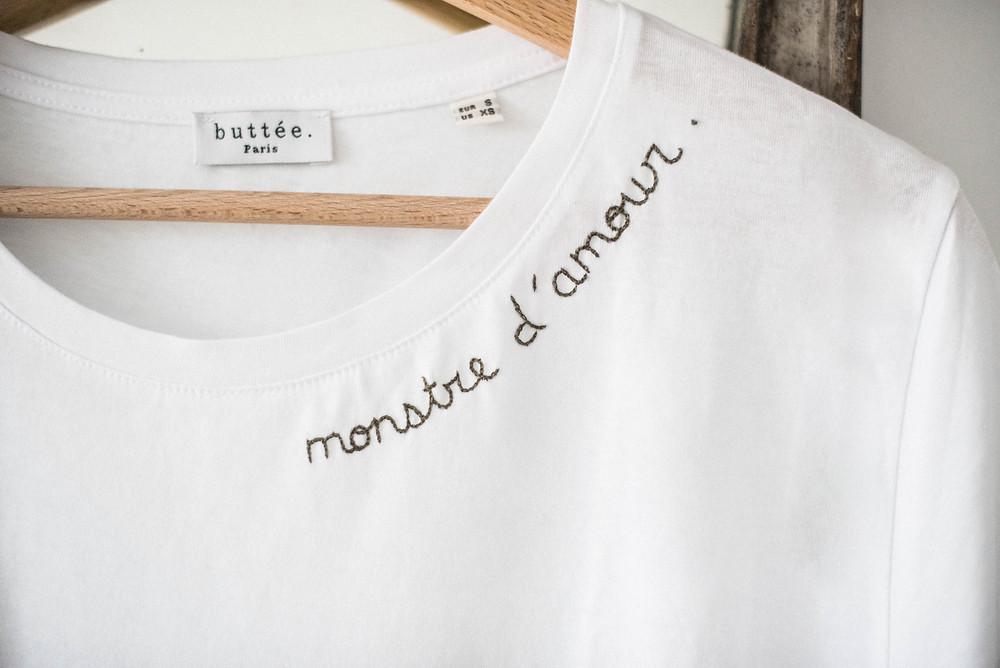 Tee-shirt brodé personnalisable Buttée. Paris pour Clara Luciani - Noël 2018