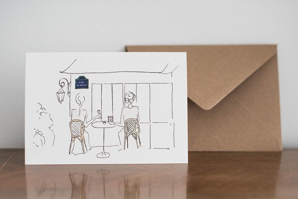 cartes de voeux et affiches amour, amoureux et mariage à Montmartre Place des Abbesses - Buttée. Paris