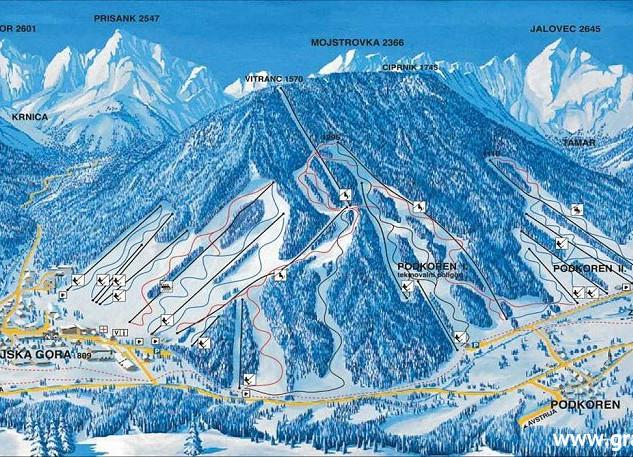 Ski slopes in Kranjska Gora