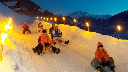 Night sledding