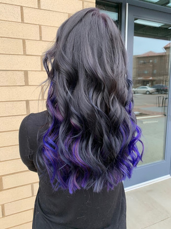 1 row of extensions for color and fullness.  Only the extensions are purple on this client.