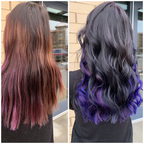 before and after of 1 row violet extensions and color