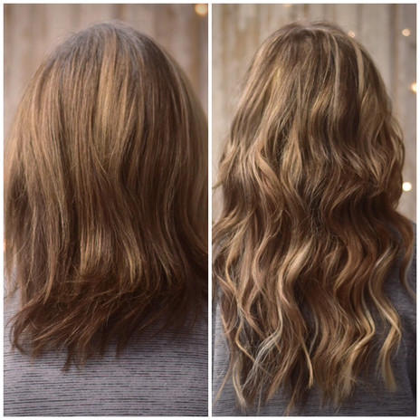 Before and after of 2 rows of extensions.