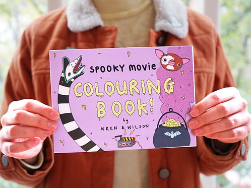 Spooky Movie Colouring book by Wren & Wilson | A5 landscape Adult colouring book