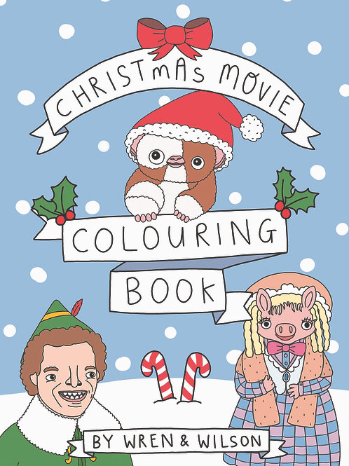 Christmas Movie Colouring book by Wren & Wilson | A5 landscape Adult co