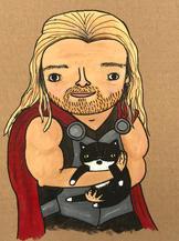 Thor holding Luna
