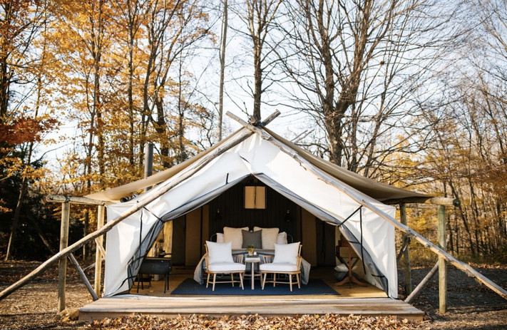 Each Canvas tent is outfitted with theamenitiesthat keep you comfortable with pieces of luxury that keep you happy. Tents include:electricity,full bathroom with hot water, lush linens andKing bed withbed warmer,air-conditioner or wood stove *weather dependent.  Tents have a maximum double occupancy (2 adults).   Children 12 and under may be added (with a rollaway bed) to tents $100 per night and up to 2 per tent. Children 2 and under are free.   Complimentary Fields Breakfast included. Wifi NOT included. (You're welcome)  Two Night Minimum Stay
