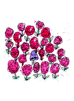 Shrinking violet in a crowd of roses