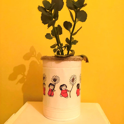 Upcycled Scarlet Red Tin Pots