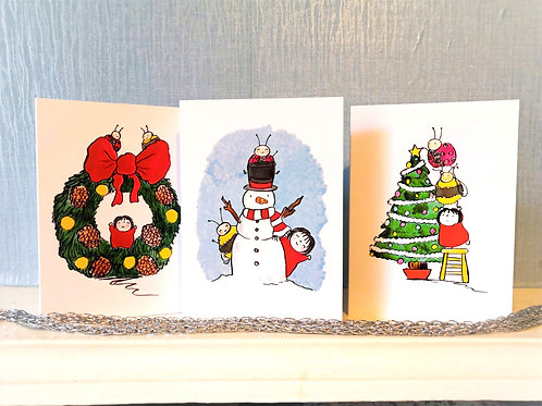 Pack of 3 Scarlet Red Christmas Cards