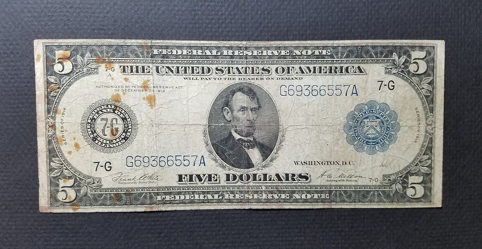 Fr. 871a $5 1914 Federal Reserve Note Very Good-Fine - Chicago
