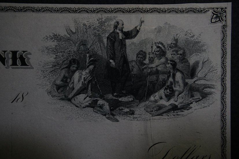 Boston National Bank Proof check - Eliot Preaching to Native Americans vignette
