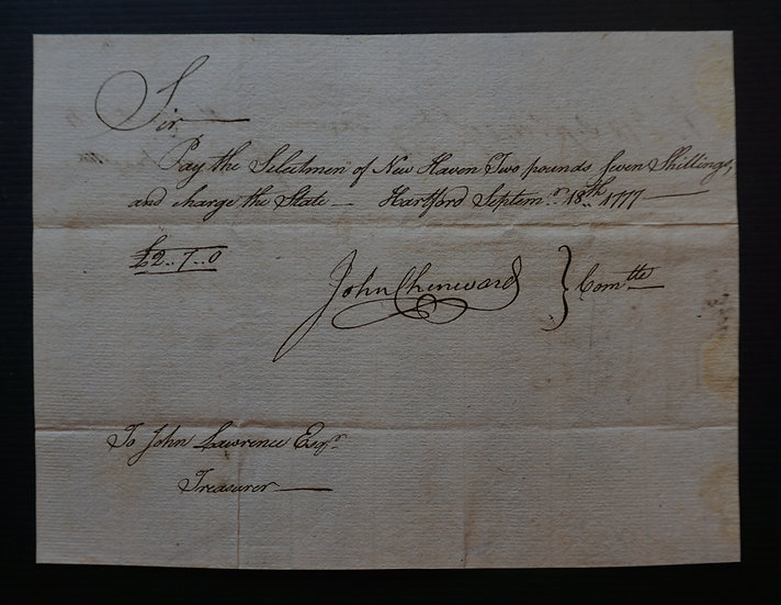 Sept 18, 1777  Hand Written CT Colonial Note To New Haven First Selectman