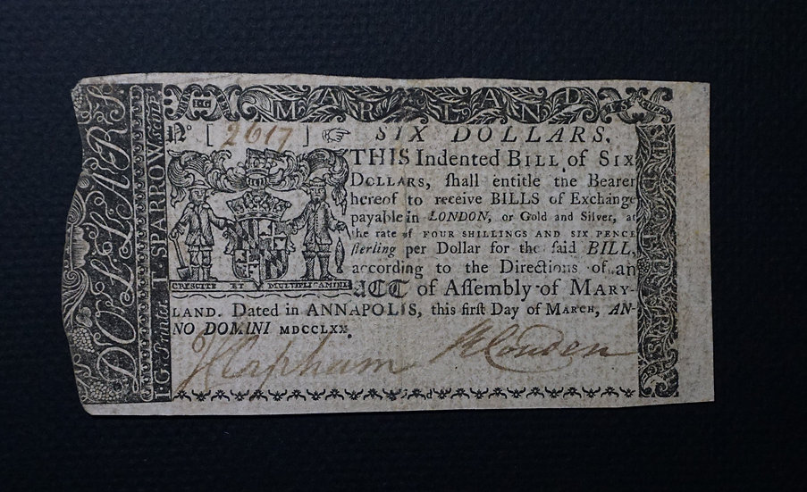 March 1, 1770 $6 Maryland Colonial Note MD-58- Extremely Fine