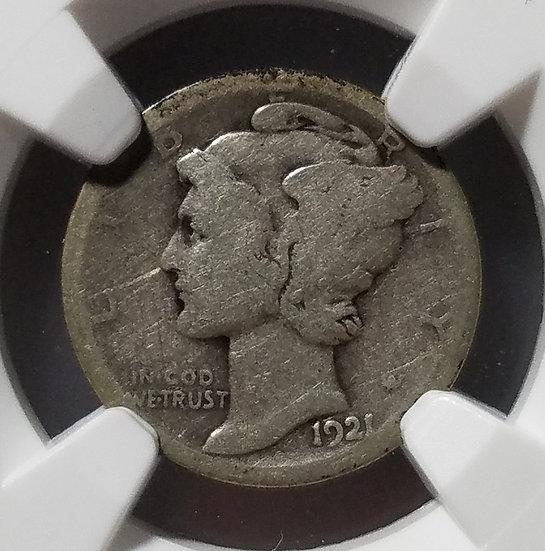 1921-D 10¢ Mercury Dime NGC AG03