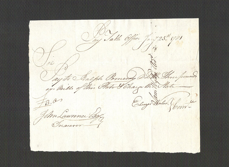 Jan 25, 1781 CT Hand Written Colonial Note from John Lawrence to Ralph Pomeroy