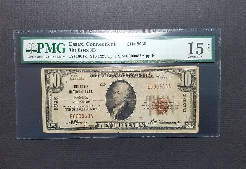 $10 The Essex National Bank, Essex CT Charter # 8936 Choice Fine Net