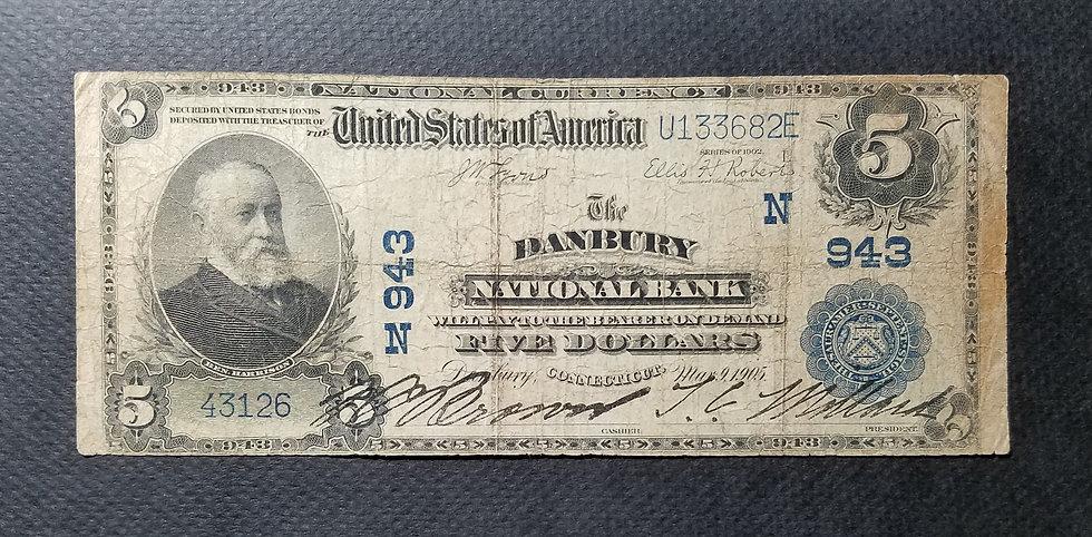 $5 The Danbury National Bank, Danbury CT Charter #943