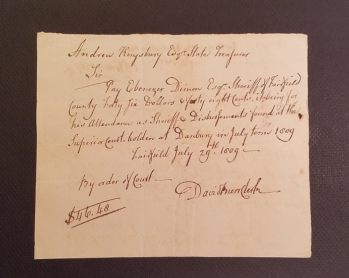 July 29, 1809 Hand Written CT Colonial Note to Ebenezer Dinon Esq