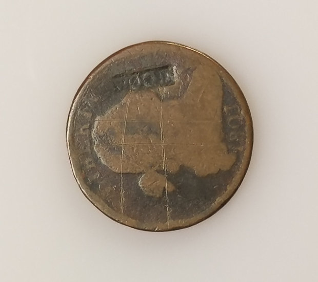 """1803 Draped Bust Large Cent with Counter Stamped """"Wood"""" in raised letters"""