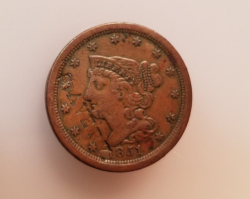 1851 Braided Hair Half Cent Counter Stamp Avery