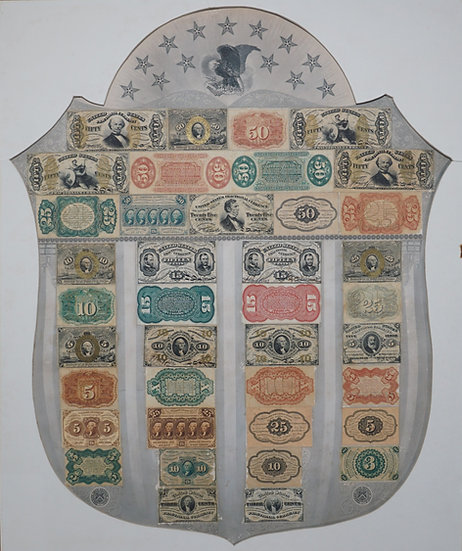 Fr 1382 Gray Fractional Currency Shield - Fine - Extremely Rare