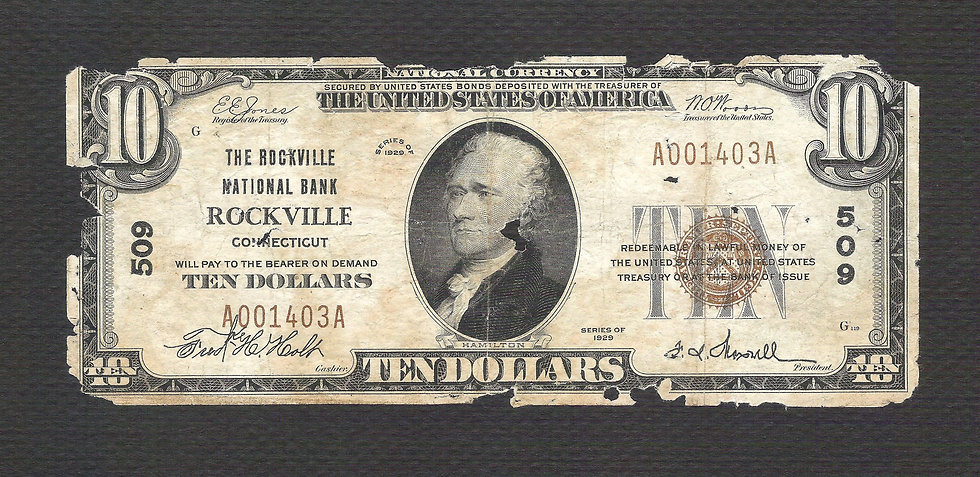 $10 The Rockville National Bank, Rockville CT Charter # 509 Poor Type I