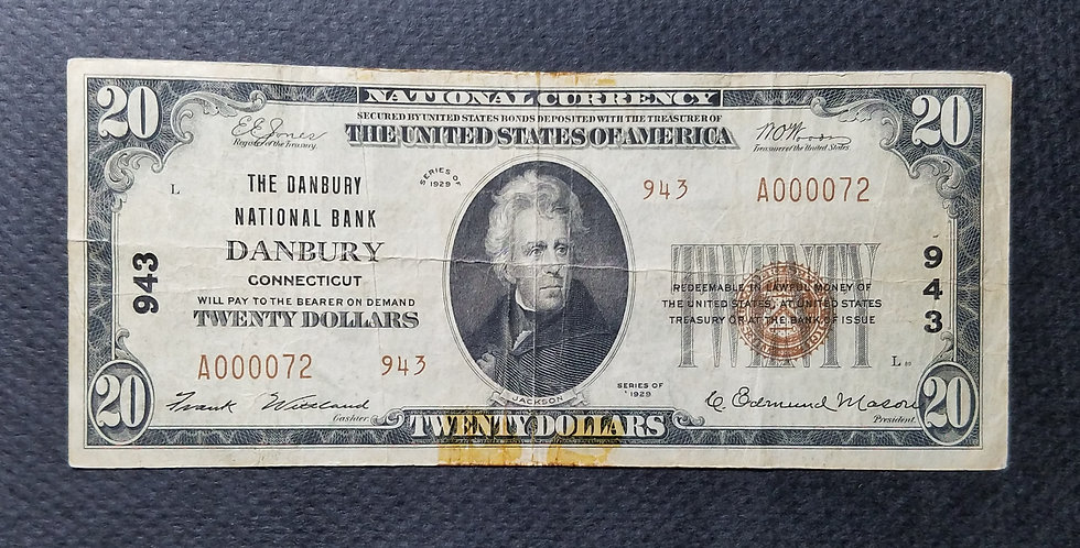 $20 Danbury National Bank, Danbury CT Ch#943 Type II