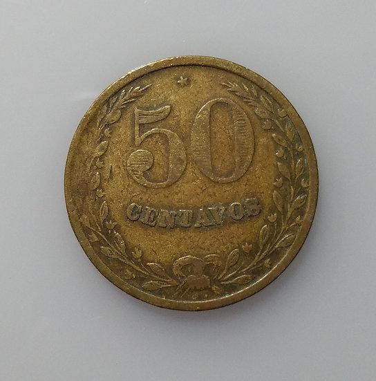 1928 50 Centavos Republic De Colombia Lazareto Leaper Colony