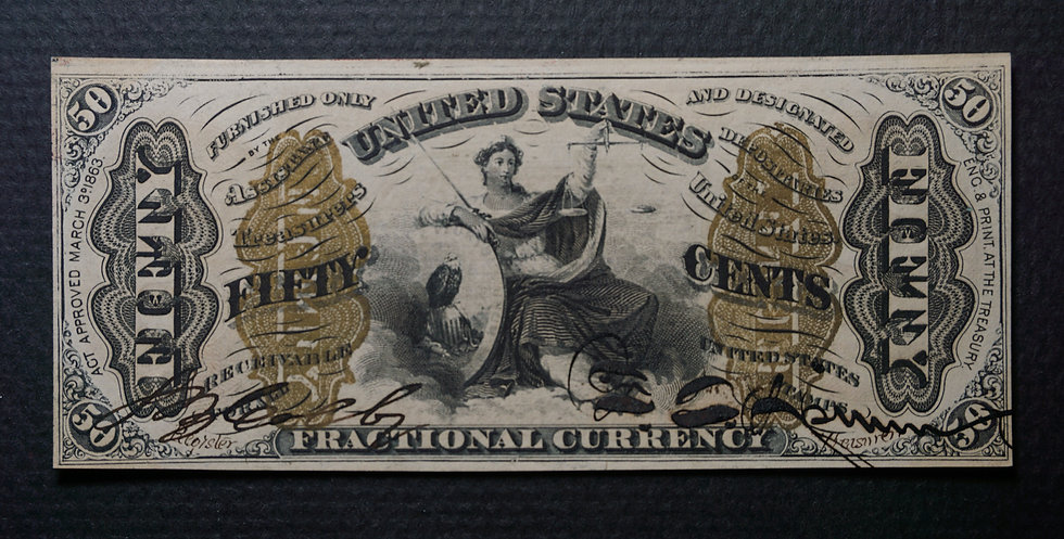 Fr 1355 Hand Signed 50¢ Third Issue Justice Fractional Note Crisp Uncirculated.