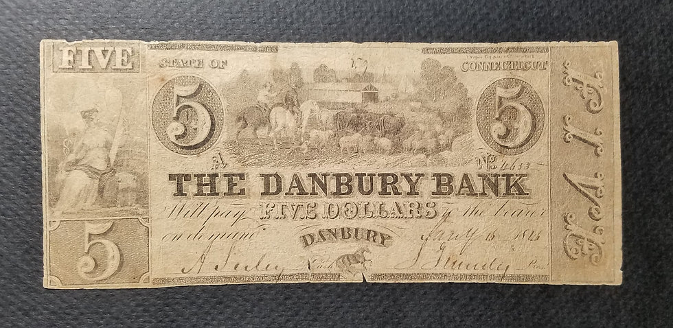$5 The Danbury Bank Counterfeit Bank Note Haxby CT 80 - S10