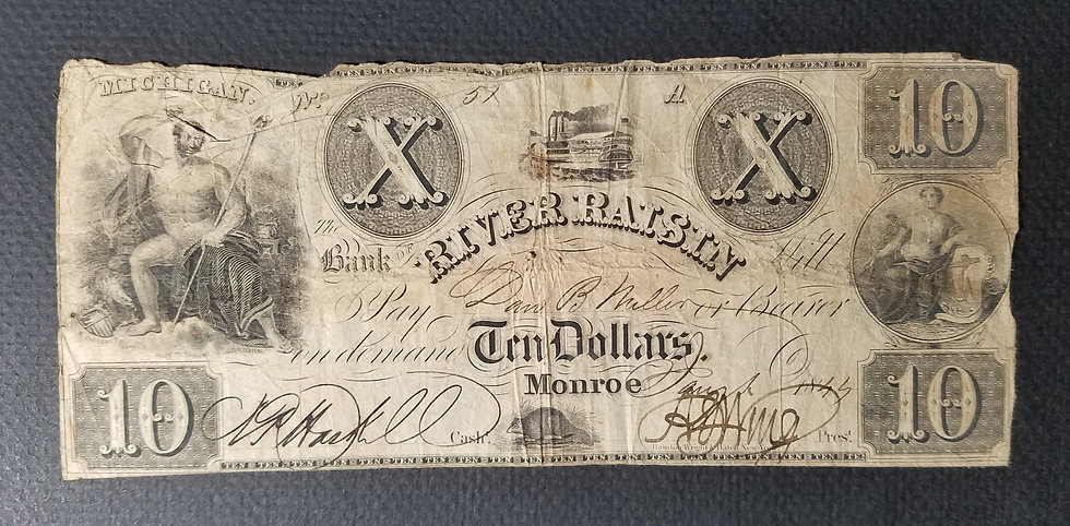 $10 The Bank of River Raisin, Monroe Michigan Obsolete Banknote Jan 1855