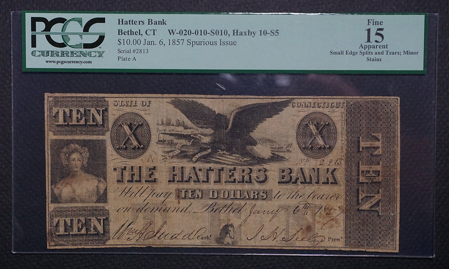 $10.00 The Hatters Bank of Bethel, Connecticut Jan 6, 1857
