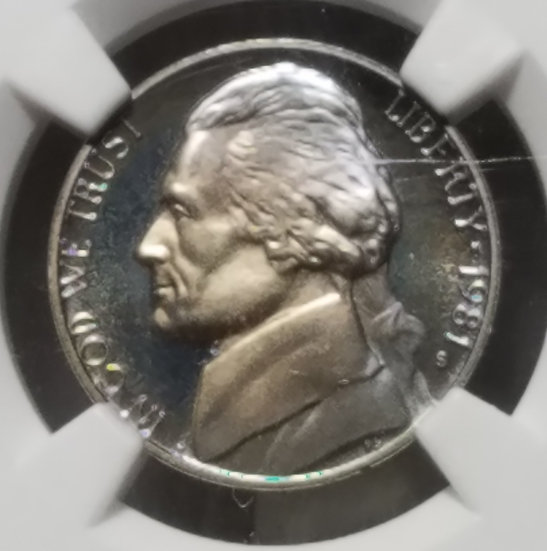 1981-S 5¢ Jefferson Proof Nickel Type I - Nicely Toned NGC PR68 Ultra Cameo