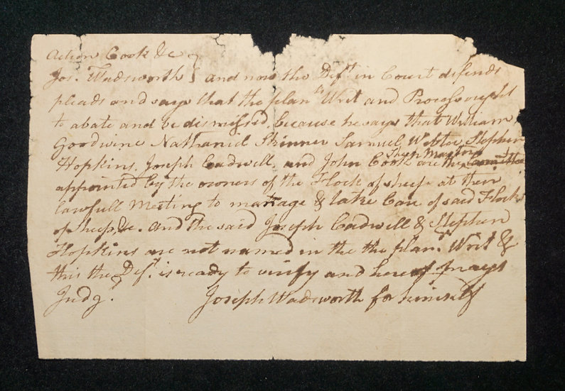 Early American Legal Document regarding a flock of sheep